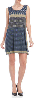 Max Studio Petite Printed Sleeveless Trapeze Dress