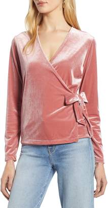 Halogen Velvet Ballet Wrap Top
