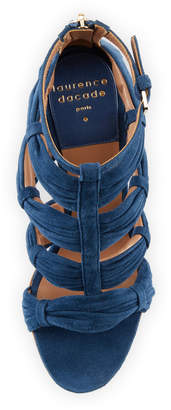 Laurence Dacade Rocky Ruched Suede T-Strap Sandals