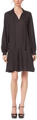 Michael Kors Foulard Silk-Georgette Tie-Neck Dress