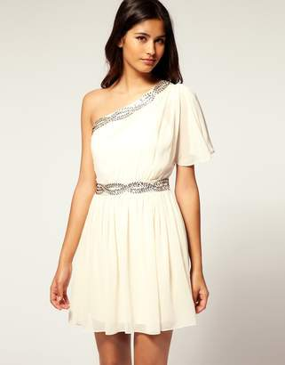 Lipsy Loves Pixie Lott Embellished Grecian One Shoulder Dress