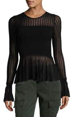 Ronny Kobo Sheer Panel Peplum Top