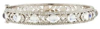 Penny Preville 18K Diamond & Moonstone Floral Bangle Bracelet
