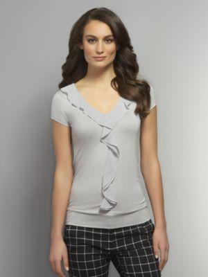 New York & Co. Banded Hem Knit Top with Chiffon Ruffles