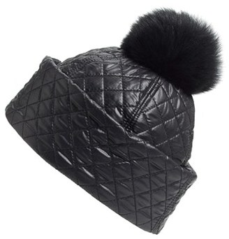 UGG ® Australia Water Resistant Quilted Hat with Genuine Shearling Pompom $75 thestylecure.com