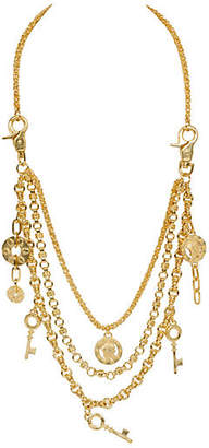 One Kings Lane Vintage Lagerfeld Three-Tier Charm Necklace - Vintage Lux