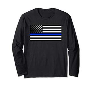 Thin Blue Line American Flag Long Sleeve T-Shirt