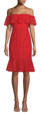 BCBGMAXAZRIA Off-The-Shoulder Lace Dress
