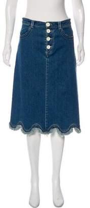 See by Chloe Fringe-Trimmed Knee-Length Skirt