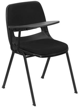 Flash Furniture Padded Ergonomic Shell Chair with Right-Handed Flip-Up Tablet Arm, Black