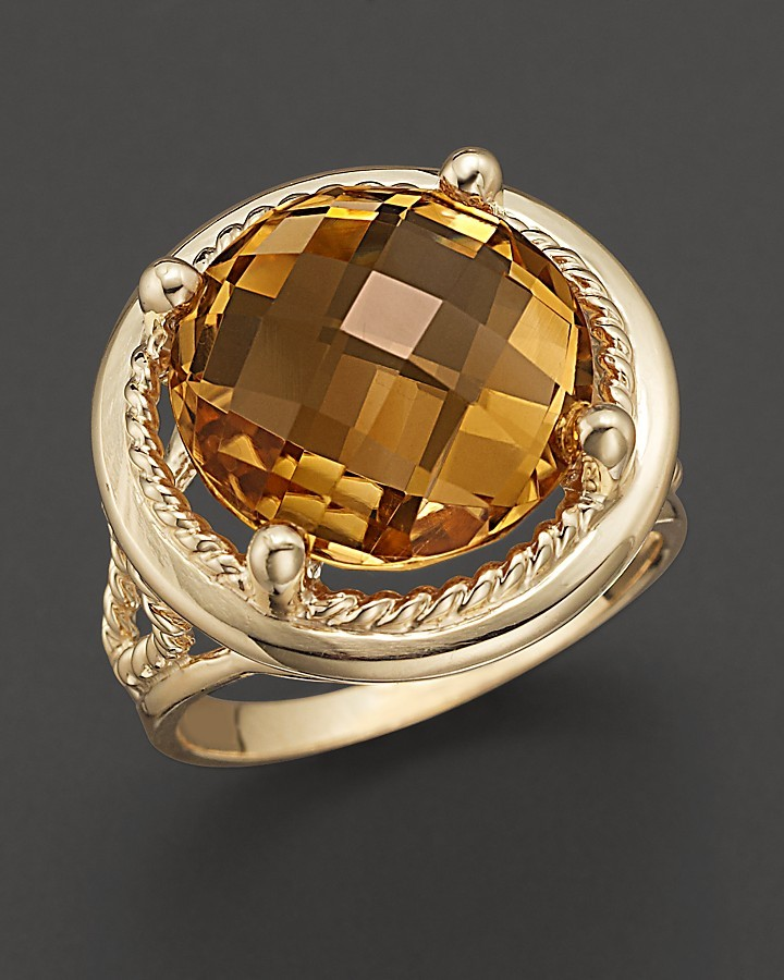 Citrine and 14 Kt. Yellow Gold Ring