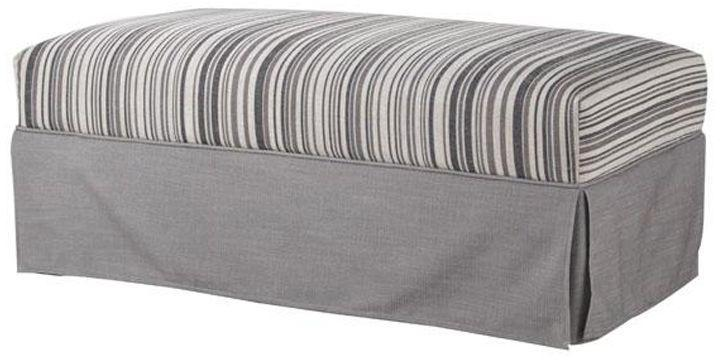 Home Decorators Collection Olivia Gray Stripe Ottoman with Skirt