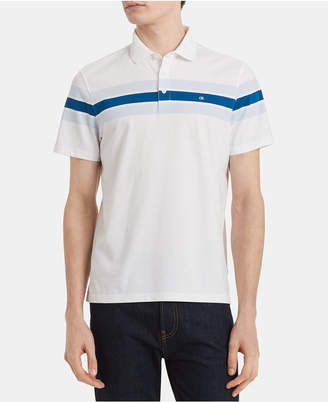 Calvin Klein Men Big & Tall Slim-Fit Colorblocked Stripe Liquid Touch Polo Shirt