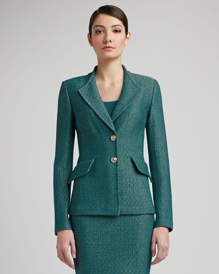 St. John Space Dyed Tack Knit Revere Collar Jacket with Pocket Flaps