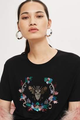 Topshop Embellished Bee T-Shirt