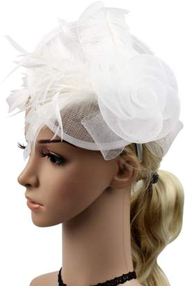 styling/ Z&X Sinamay Fascinator Headbang Mesh Feather Flower Cocktail Pillbox Hat