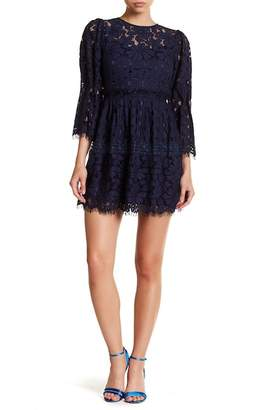 Laundry by Shelli Segal Floral Lace Bell Sleeve Dress