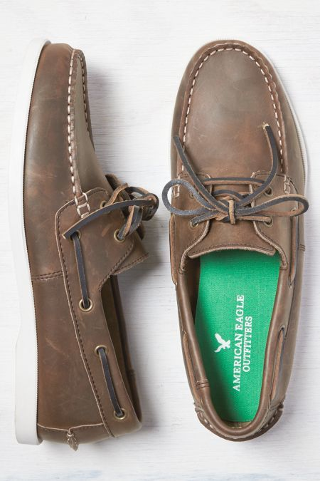 American Eagle Outfitters Light Brown Leather Boat Shoe, Mens 7