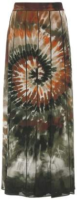 Valentino Printed pleated silk maxi skirt