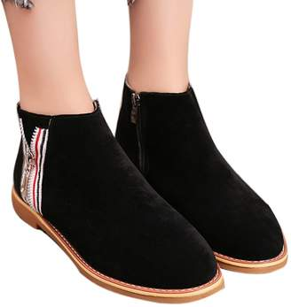 Farjing Shoes for Womens Clearance Sale Fashion Vintage Women Ankle Boots Soft Leather Flat Shoes Comfortable Boot Shoes(,