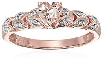 10k Rose Gold Morganite and Diamond Accented Heart Engagement Ring