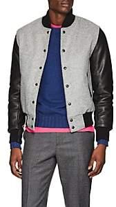 Barneys New York Golden Bear x Men's Wool & Leather Varsity Jacket - Light Gray