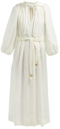 Lisa Marie Fernandez Poet Belted Slubbed Linen Blend Dress - Womens - White