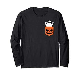 Fake Pocket Scary Ghost Funny Halloween Long Sleeve T-Shirt