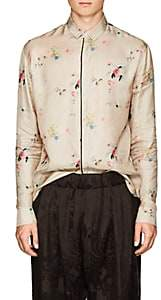 Haider Ackermann Men's Floral Polished Twill Shirt - Beige, Tan