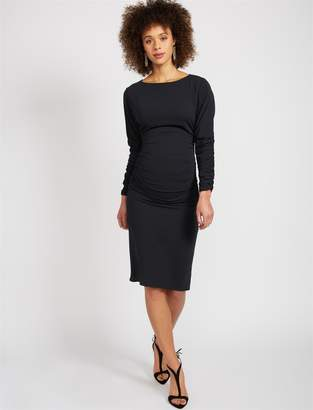 BCBGMAXAZRIA Pea Collection Side and Sleeve Ruched Maternity Dress