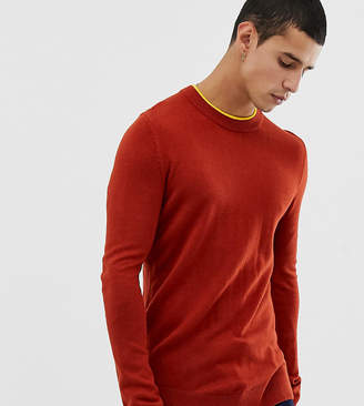 Collusion COLLUSION skinny fit crew neck jumper in rust with mustard tipping