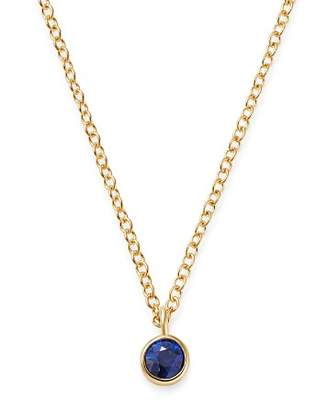 "Chicco Zoë 14K Yellow Gold Blue Sapphire Drop Choker Adjustable Necklace, 14""-16"""