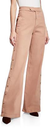 Jonathan Simkhai Button-Down Wide-Leg Denim Pants