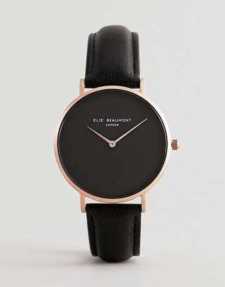 Beaumont Elie Watch With Rose Gold Case And Leather Strap