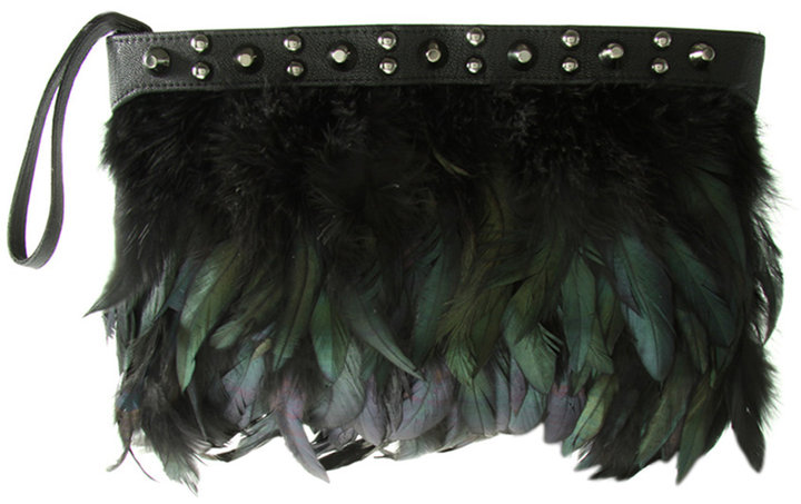 ASOS Conical Stud Feather Clutch Bag