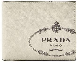 Prada Logo Print Bi Fold Leather Wallet - Mens - White