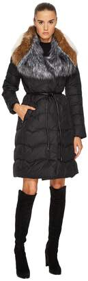 Diane von Furstenberg Brooke Triple Faux Fur Collar Tie Waist 38 Puffer Jacket Women's Coat