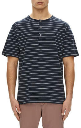 Theory Relaxed Striped Short-Sleeve Henley Shirt