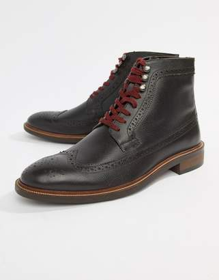 Dune Lace Up Brogue Boots In Brown