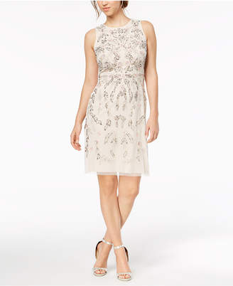 Adrianna Papell Flower-Beaded A-Line Dress