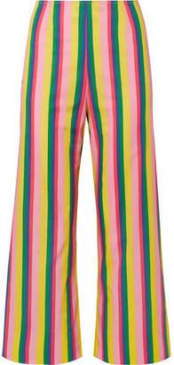 STAUD Maui Striped Stretch-cotton Poplin Wide-leg Pants - Yellow