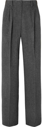 Max Mara Pleated Camel Hair Wide-leg Pants - Dark gray