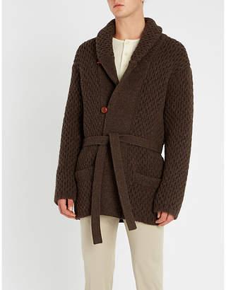 Brioni Shawl-collar chunky-knit wool cardigan