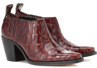 Ganni Nola embossed leather ankle boots