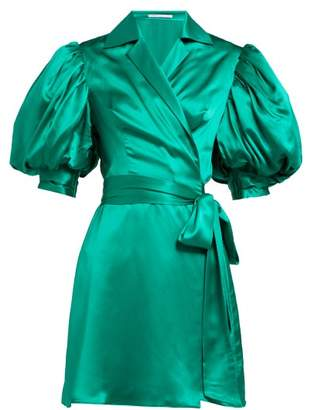 Alessandra Rich Puff Sleeve Silk Charmeuse Wrap Mini Dress - Womens - Green
