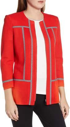 Ming Wang Gingham Trim Sweater Jacket