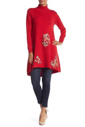 Couture Simply Mock Neck Floral Embroidered Knit Dress
