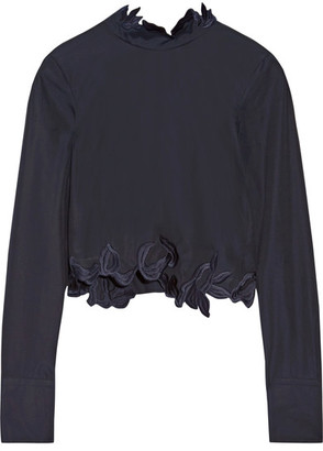 3.1 Phillip Lim - Asymmetric Embroidered Cotton-poplin Top - Midnight blue $375 thestylecure.com