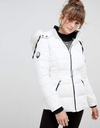 New Look Faux Fur Belted Padded Coat