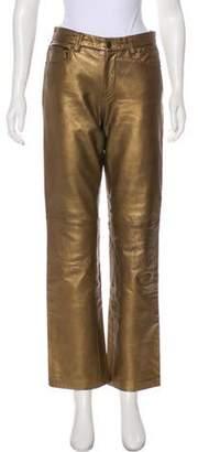 Ralph Lauren Purple Label Mid-Rise Leather Pants Bronze Mid-Rise Leather Pants